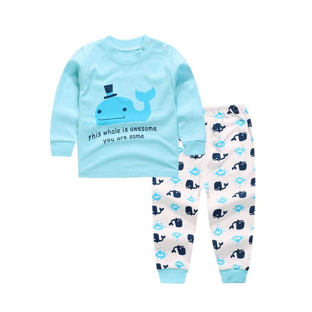 Wongfon Baby Boys Girls Pajamas Set Cartoon Shoulder Buckle Long Sleeve Tops & Pants Sleepsuit/Underwear/Sportwear Clothes Set Aged 0-4 Years