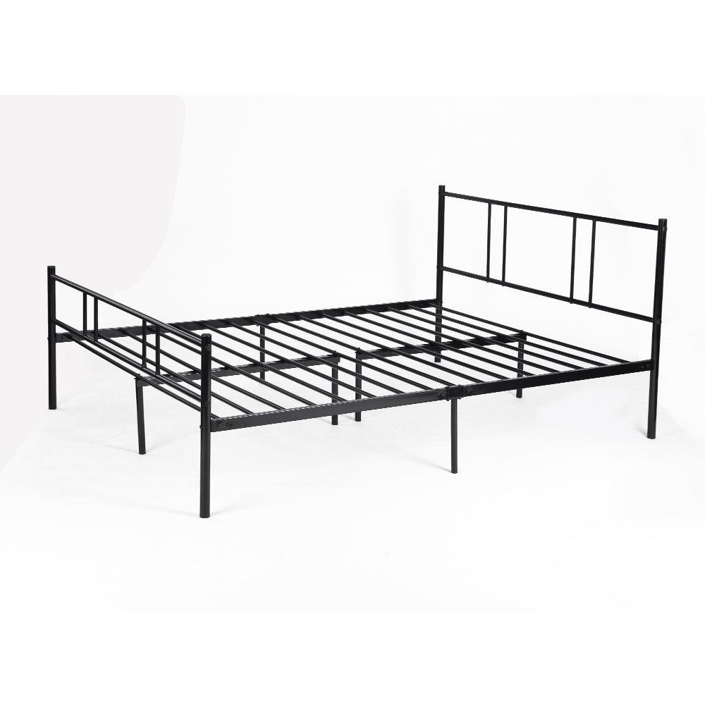 doppelbett mit lattenrost metallbett 140x200cm schwarz bett mit metall kopfteil ebay. Black Bedroom Furniture Sets. Home Design Ideas