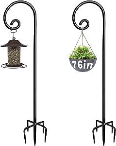 Artigarden Outdoor Shepherd Hooks 76 inch Tall for Bird Feeder (2 Packs), Adjustable Metal Garden Poles for Hanging Plants Solar Light Lantern, Bright Black