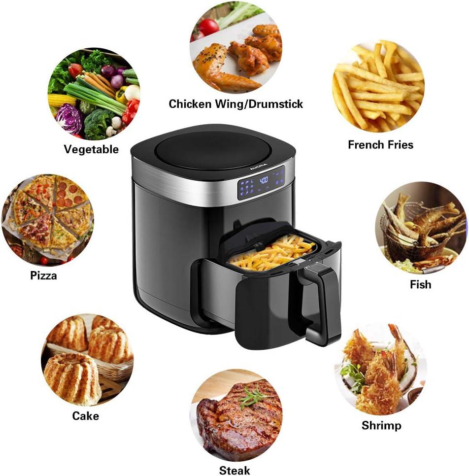 5.8QT Hot Air Fryers Aucma Air Fryer Digital Touch Screen Preheat /& Nonstick Basket XL Electric Air Oven Cooker with 9 Cooking Preset