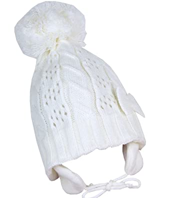 BabyPrem Baby Toddler Hat Woolly Ear Flap Bow Pom Pom Winter Clothes White  Girl White 6 6003a8a9c91
