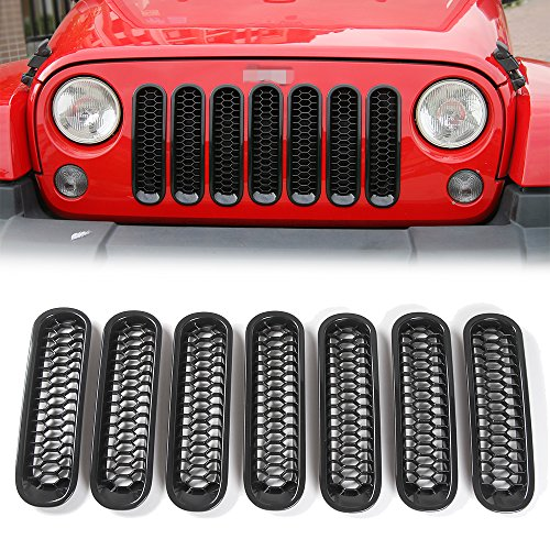 JeCar Black Front Grill Mesh Jeep Honeycomb Trim Grille Insert cover for Jeep Wrangler JK & Unlimited 2007-2015-7 Piece