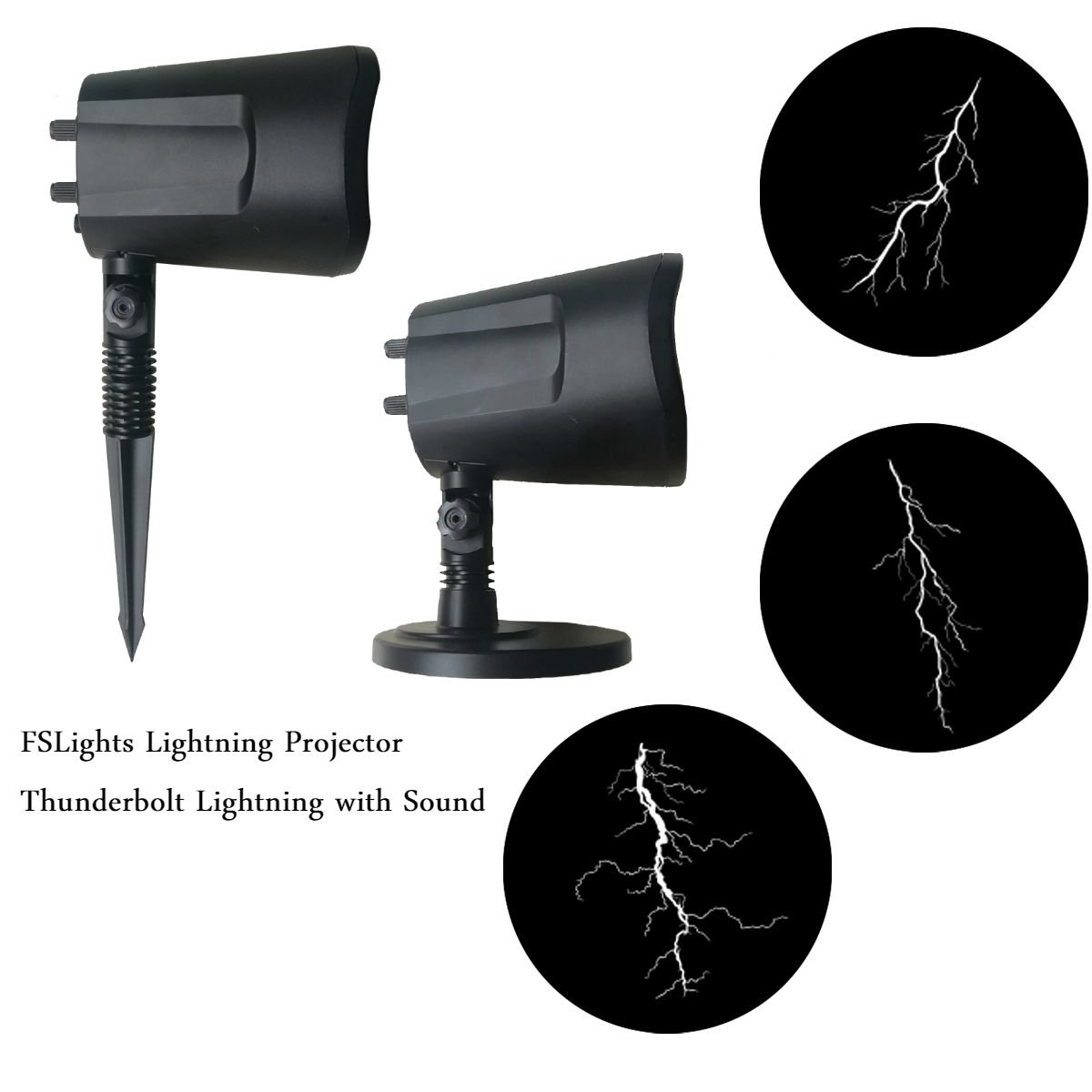 FSLights Halloween Lights Projection,Thunderbolt Lightning Projector with Sound,Cool Scene,Funny Gifts,Decorative Lighting Landscape Projector Lamp for Patio Garden Lawn Decoration