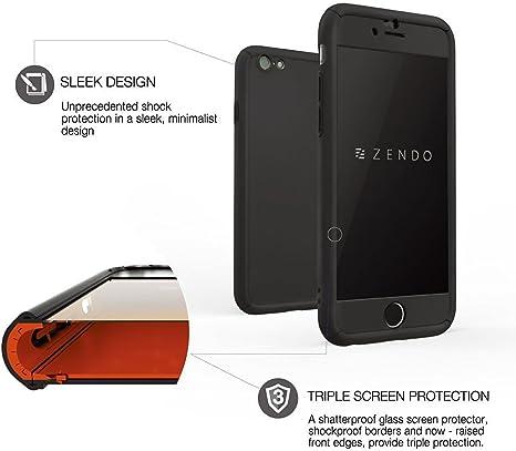 ZENDO Coque iPhone 7/8 Antichoc EXTRÊME (avec Amortisseurs) Protège Écran (9H) | Coque Intégrale 360° NanoSkin Freefall [Noir]
