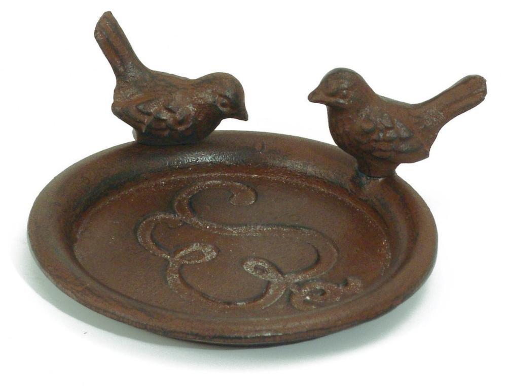 Esschert W8061 Design Gusseisen 14 x 18 x 8 cm Fressnapf mit Vogels