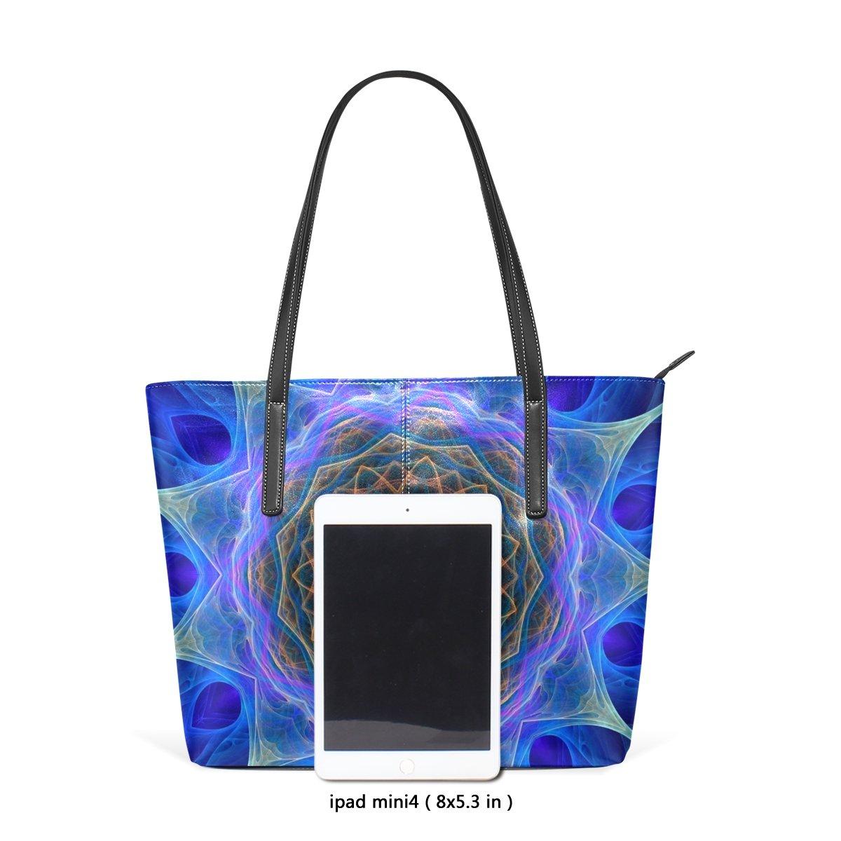 Cosmic Flower Leather Top Handle Satchel Girl Handbag Shoulder Tote Bag for Girls Women
