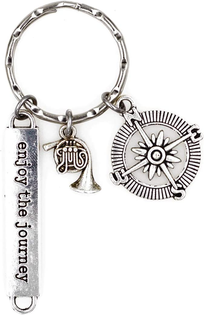 Its All About...You Enjoy The Journey Compass Saxophone Jazz Keychain 1Q
