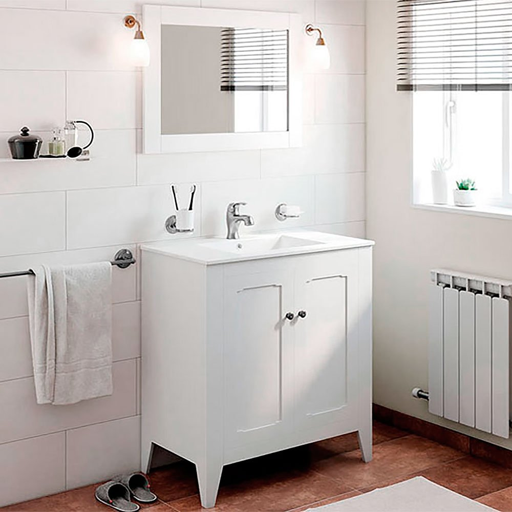 Randalco 32'' Boho Classic Vintage Bathroom Vanity Cabinet Set, White | W 32 x H 35 x D 18 Inch Vanity + Ceramic Counter Top + Mirror