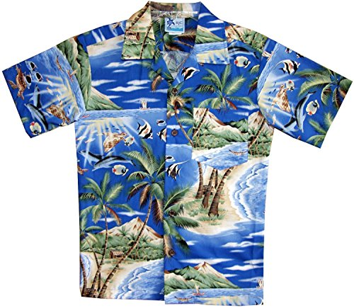RJC Boy's Tropical Fish Island Surf Hawaiian Shirt Royal Blue ()