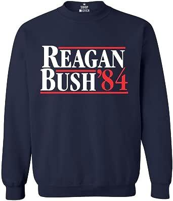 Shop4Ever Reagan Bush 84 Crewnecks Republican Presidential Campaign Sweatshirts
