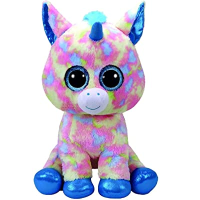 Ty 36890 Blitz Unicorn with Glitter Eyes, Plush Beanie Boo Plush Soft Toy – Blue/Multicoloured 42 cm: Toys & Games