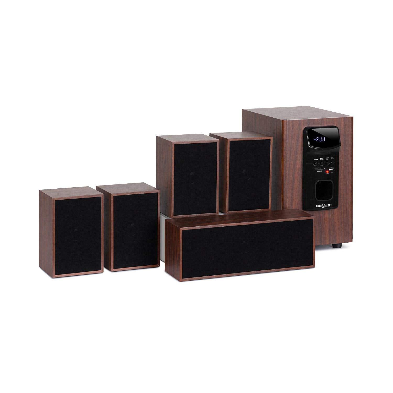 oneConcept Woodpecker Système Audio 5.1 • Système Audio Home Cinéma • Enceintes Satellites • Puissance de Sortie 45 W RMS • Bluetooth • Ports USB et SD • Noir-Marron Auna VB9-Woodpeckers