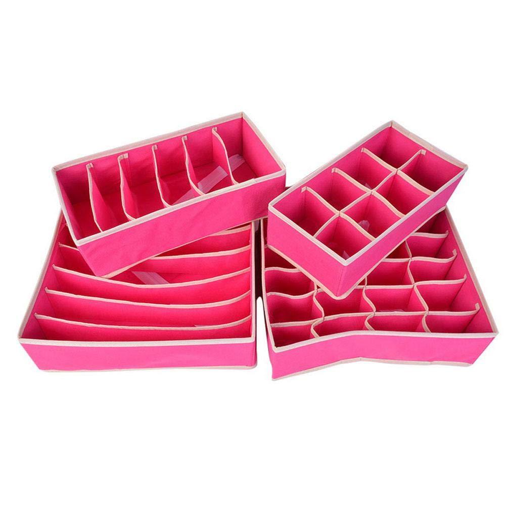 Organizer per Armadio Pieghevole Beige Calze Hearthrousy Biancheria Intima 4 divisori per cassetti Pieghevoli per Reggiseni Sciarpe e Altri Accessori Cravatte