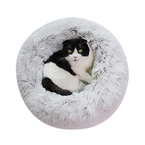 Vivi Bear Cama Gato Cama Perro Extra Suave Cómodo Lindo,Cojín de Gato Lavable de la Cama,Lecho Ovalado de Cueva de anidación Adecuado para Gatos y ...