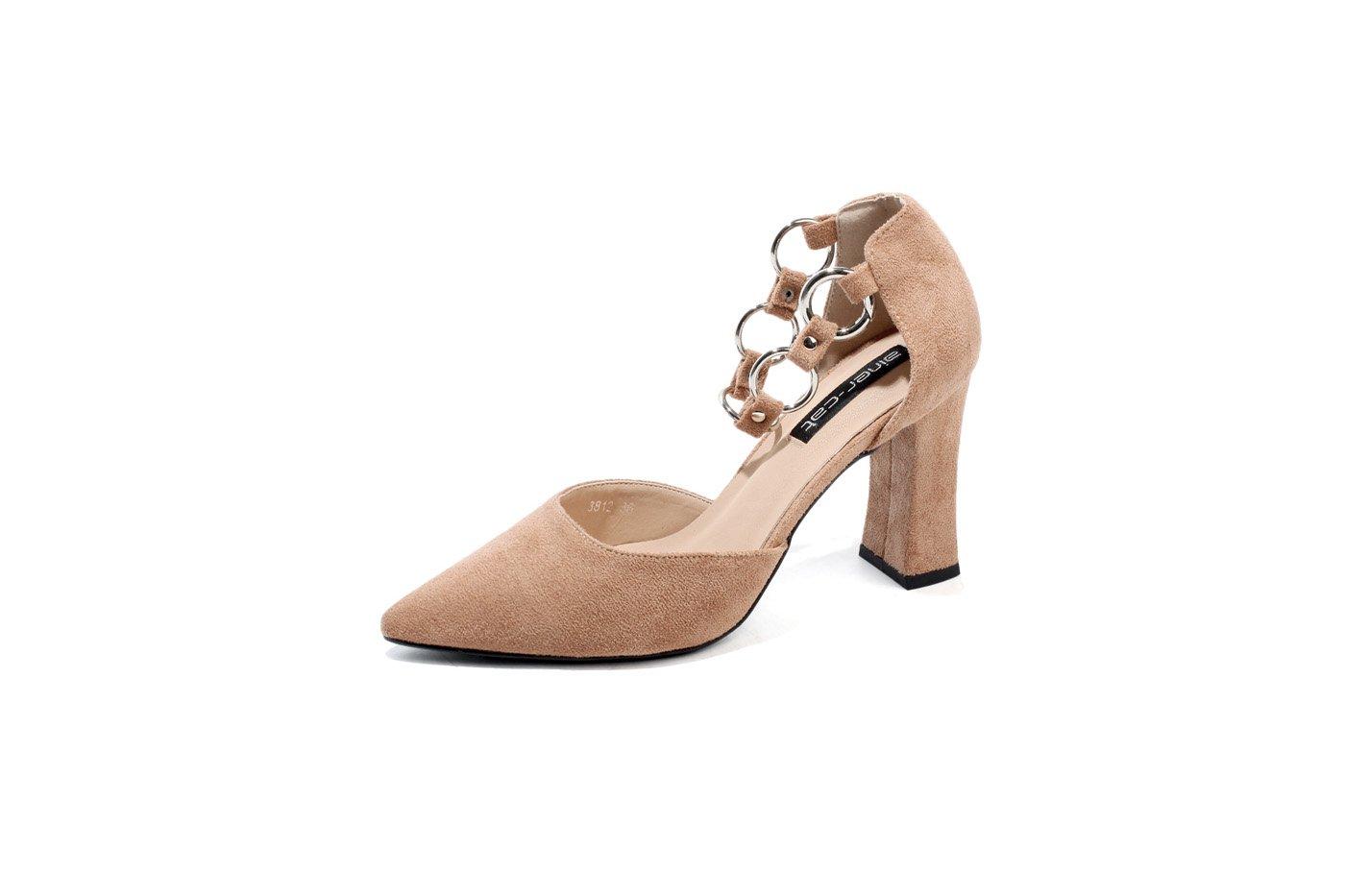DANDANJIE damen schuhe Sommer Schnalle Knöchelriemen High Stöckelabsatz Spitze Suede-PU Court Schuhe (Farbe   Khaki, Größe   38)