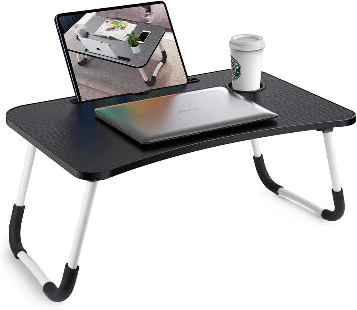 Foldable Bed Tray Lap Desk, Portable Lap Desk with Phone Slots Notebook Table Dorm Desk, Small Desk Folding Small Dormitory Table (Black)