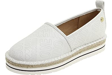 8d64842d7871b Love Moschino Women's Embossed Logo White Espadrilles Loafers Shoes