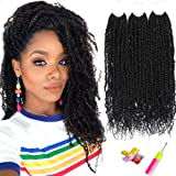 "Pretwisted Passion Twist Crochet Hair Befunny Pre looped Passion Twist Hair 12inch 6 Packs Prelooped Spring Crochet Braids Short Black Bomb Twist Synthetic Braiding Hair For Women(12"",1B#)"