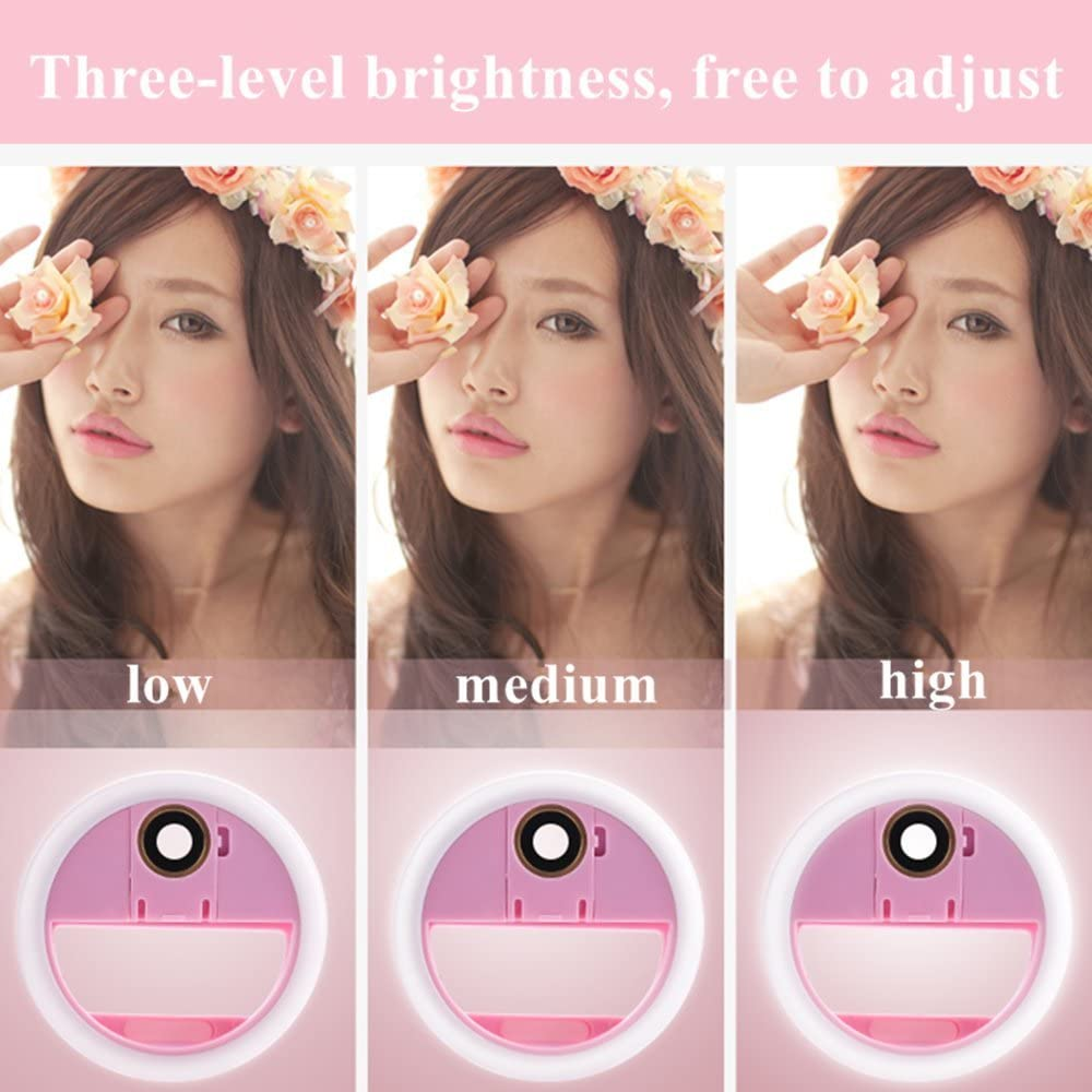 for iPhone Android Photography USB Rechargeable Live Stream /& Makeup LUPAPA Selfie Ring Light with Phone Camera Lens 3-Level Brightness 36 LED Fill Light Pink Macro /& 0.65/× Wide Angle Lens
