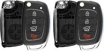 Pack of 2 KeylessOption Keyless Entry Remote Flip Key Fob Shell Case Cover Button Pad for Hyundai Sonata Tucson Santa Fe
