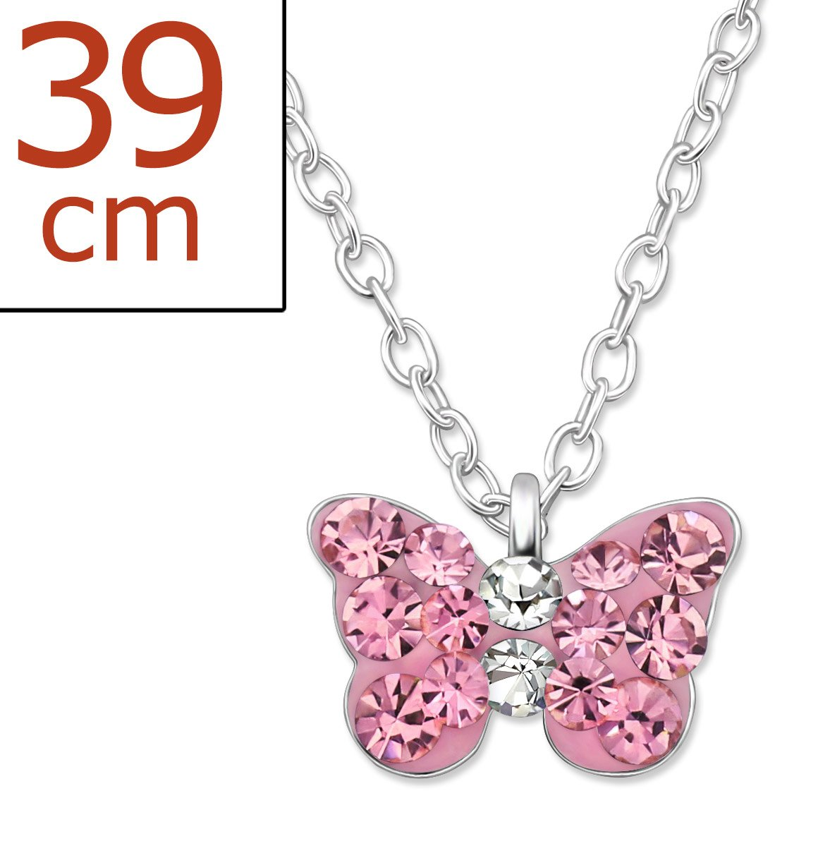 Best Wing Jewelry .925 Sterling Silver''Tiny Pink Butterfly Crystal'' Children's Pendant Necklace