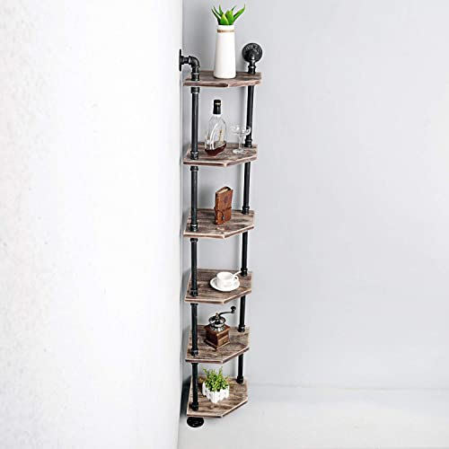 Weven 6-Tier Industrial Pipe Corner Shelves Modern Rustic Book Shelve