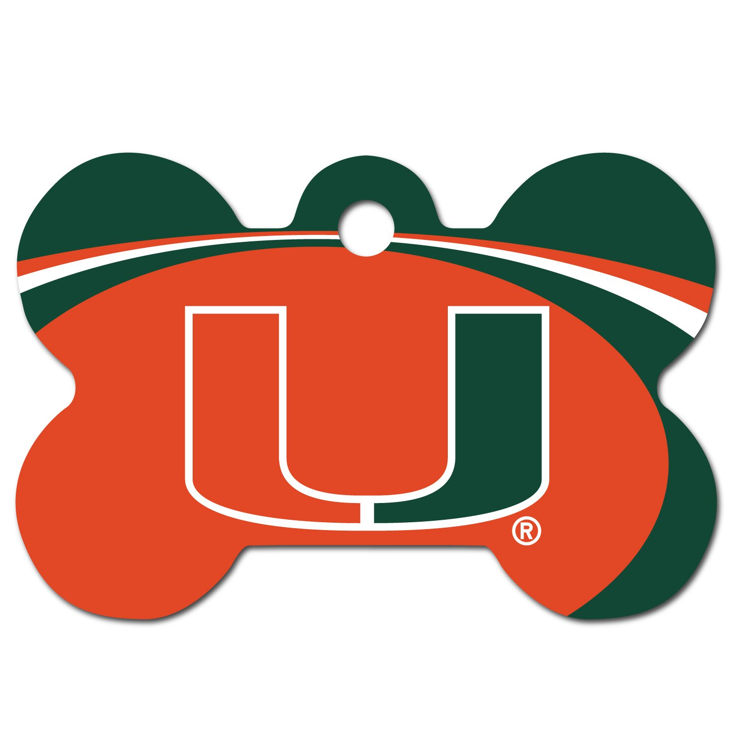 DogIDS Personalized Laser Engraved 1.5 x 1 Inch Miami Hurricanes Bone Shaped Pet ID Tag Free Tag Silencer