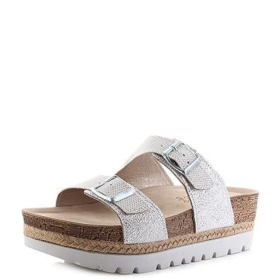 4e4d752372ad INBLU Womens NK-06 001 White Glamorous Metallic Wedge Sandals Size 3.5