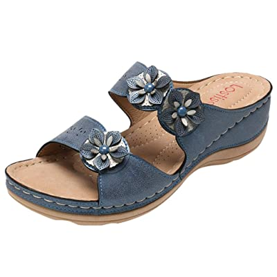 Women's Faux Leather Sandals Ladies Open Toe Thick Bottom Comfortable Sole Wedges Shoes Arch Support Slippers: Clothing