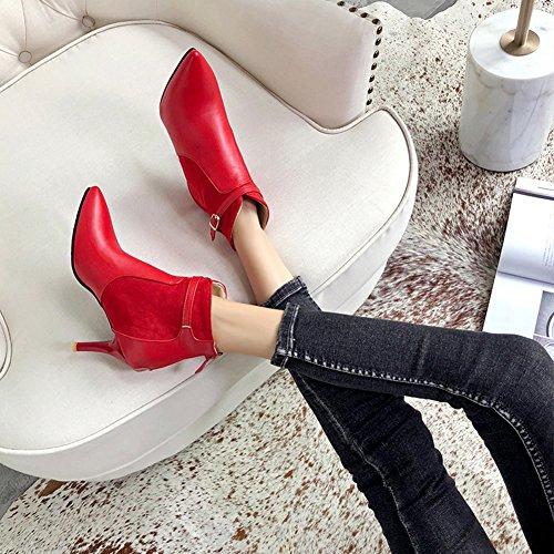Stiletto Reißverschluss Riemchen Damen Knöchelstiefel Spitze Schnalle Aisun Zehen mit Rot ZIt48Ax