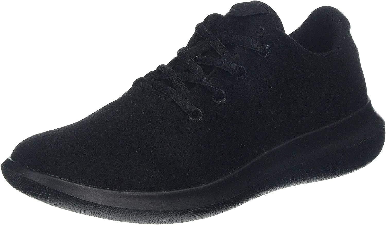 chung shi Women's Duflerino Wool Lace Low-Top Sneakers Black