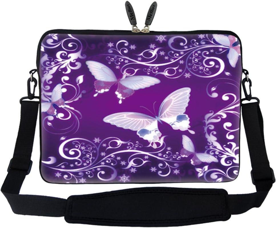 Meffort Inc 17 17.3 inch Neoprene Laptop Sleeve Bag Carrying Case with Hidden Handle and Adjustable Shoulder Strap - Purple Butterflies