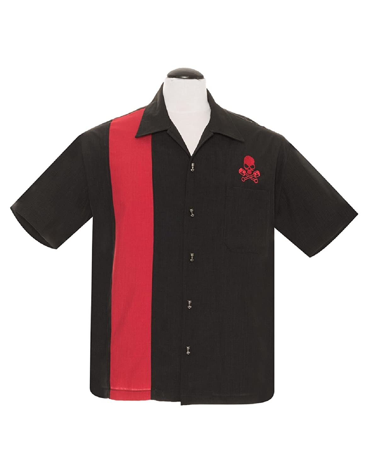 Steady Men's Skull Piston Button up in Black Red Bowling Shirt Rat Rod