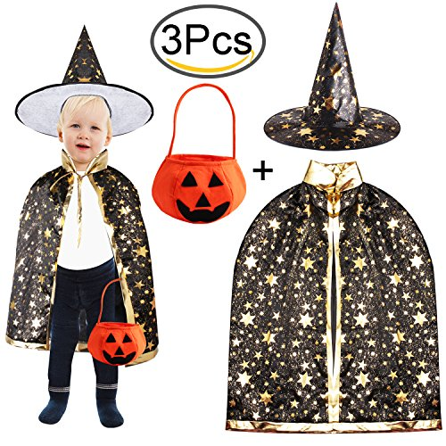 Halloween Costumes Cloak Child Witch Wizard Custome Halloween Wizard Hat by Outee, (Wizard Hat Halloween Costume)