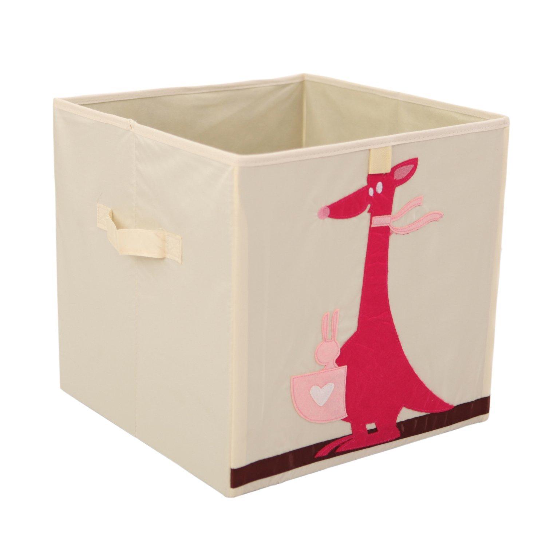 Storage Bins Foldable Cube Box - MURTOO - Eco Friendly Fabric Storage Cubes Origanizer for Kids Toys Cloth Fit IKEA Shelves, 13 inch (Kangaroo)