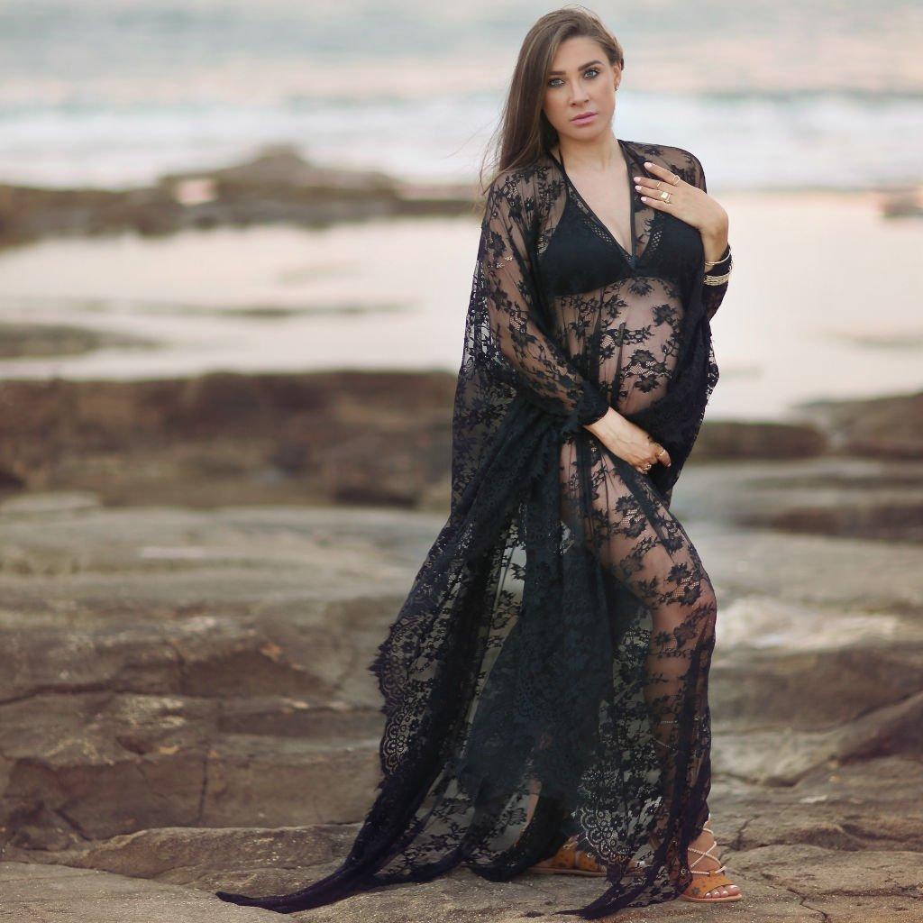 Black Kaftan Dress Made of Soft Lace, Boho Beach Dress