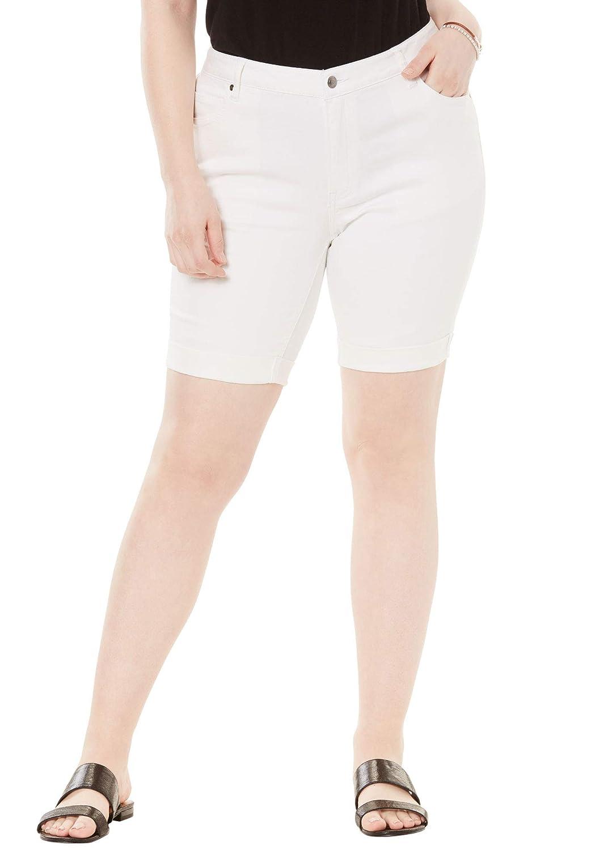 Roamans Womens Plus Size Cuffed Denim Short