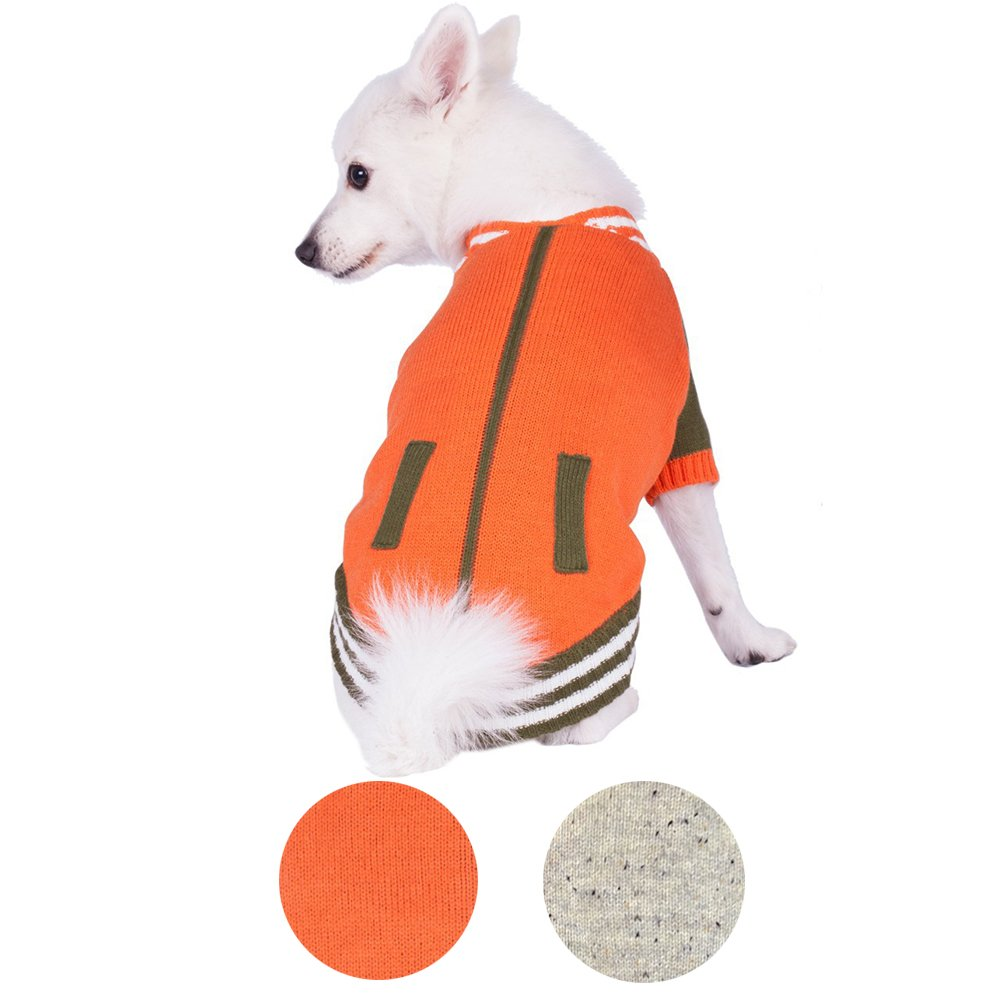 Blueberry Pet 2 Patterns Weekender Sports Baseball Jacket Style Pullover Dog Sweater in Orange, Back Length 16'', Pack of 1 Clothes for Dogs