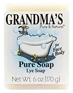 Grandma's Pure Lye Soap Bar - 6.0 oz Unscented Face & Body Wash Cleans with No Detergens, Dyes & Fragrances - 60018, pack-of-6