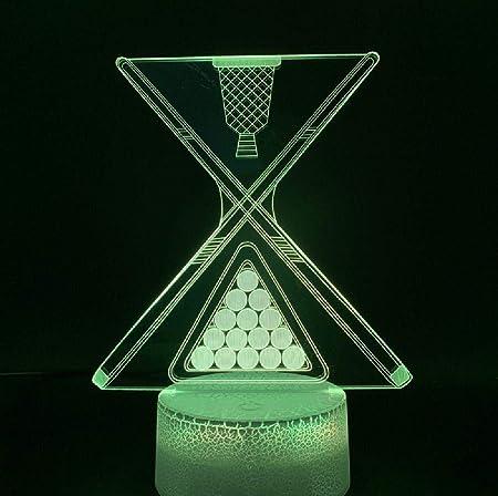 ZWJWJ Escultura Diapositiva 3D led Luces nocturnas Billar Billar Ocho o Nueve Bola Club Club atmósfera luz Nocturna batería USB lámpara de Mesa: Amazon.es: Hogar
