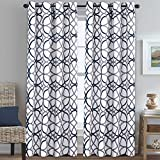 low budget patio ideas H.VERSAILTEX Blackout Room Darkening Extra Long Curtains 108 Inches Geo Pattern Dark Denim and Grey Grommet Top Thermal Insulated Window Treatment Drapes for Patio/Living Room/Kids Room, 1 Pair