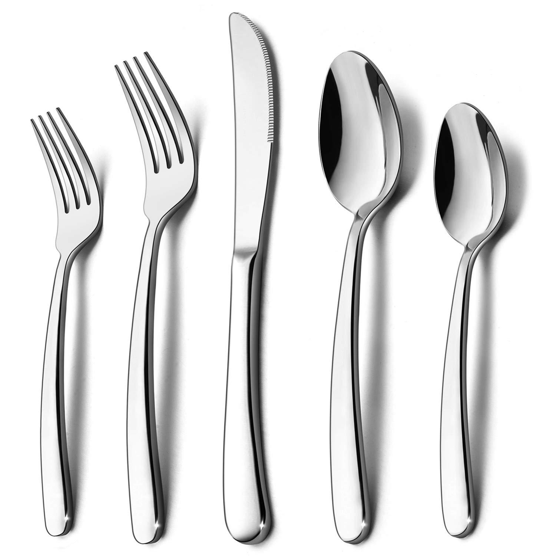 40-Piece Heavy Duty Silverware Set, HaWare Premium Grade Stainless Steel Flatware Cutlery Set, Modern and Elegant Design for Home| Restaurant| Wedding, Mirror Polished and Dishwasher Safe
