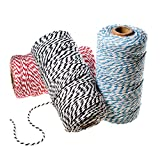 100m Ipalmay Cotton Bakers Twine for Garden Twine or Gift Wrapping, Spool 3-Ply, Pack of 3 (Red & Black & Black)