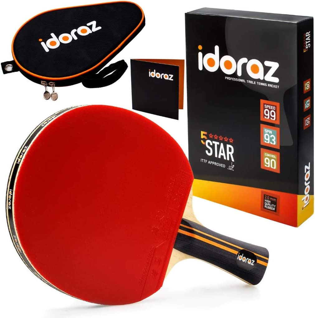 WEIZI Table tennis set Professional training Table tennis paddle with 2 bats and 10 balls for adults and children indoor or outdoor games horizontal