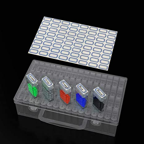 Diamond Embroidery Accessories Storage Container Huaxiangoh Diamond Painting Storage Containers Storage Box with Tools 8.85x5.31x2.16in 64 Gird Diamond Embroidery Box Diamond Painting Tools Kit