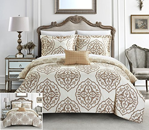 Latte Comforter - Chic Home 3 Piece Murano Reversible two-tone medallion pattern print Twin Duvet Cover Set Beige
