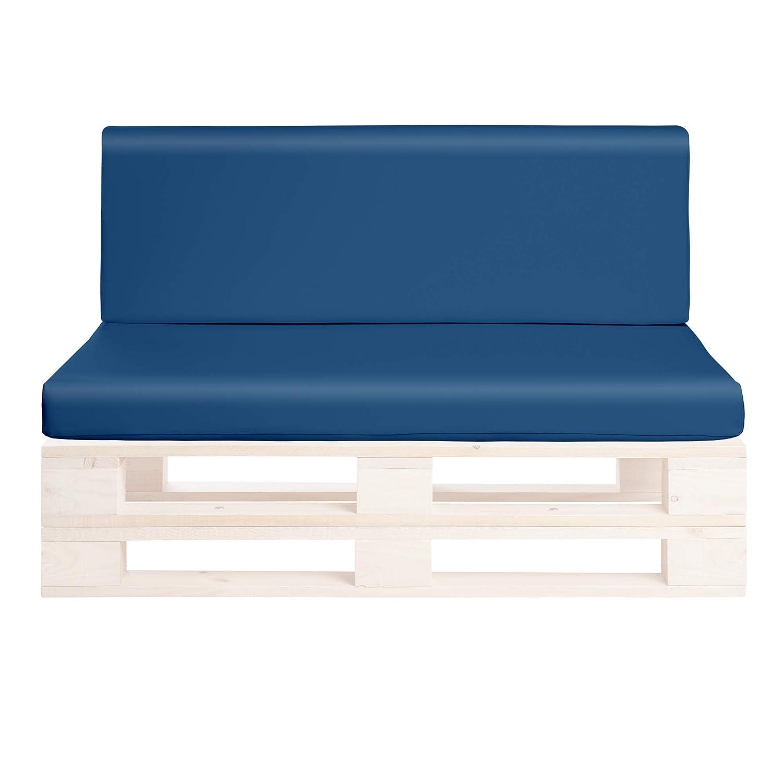 SUENOSZZZ-ESPECIALISTAS DEL DESCANSO Cojines para palets de Jardin Color Azul, Asiento y Respaldo Rellenos de Espuma y enfundados en Polipiel. Cojin ...