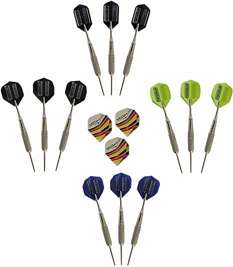 McDart - Set de 12 dardos con punta de acero y 1 set de plumas de plástico para dardos: Amazon.es: Deportes y aire libre