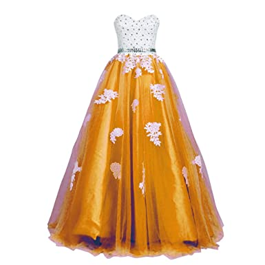 CuteShe Womens Long Prom Dresses Formal Evening Gowns with Lace Applique Gold US Size 2