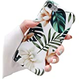 ooooops iPhone 8 Case, 7 Case for Girls, Green Leaves with White&Brown Flowers Pattern Design, Slim Fit Clear Bumper Soft TPU Full-Body Protective Cover Case for iPhone 7/8 4.7'' (Leaves&Flowers)